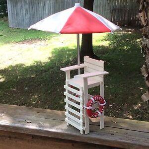 "Model Wooden Lifeguard Chair with Umbrella Beach Pool House decor 15"""