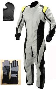 Go Kart Cordura Suit-Black-White-Yellow-(Free Gift Gloves & Balaclava)  offer