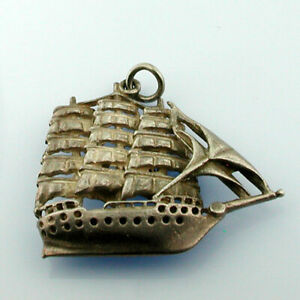 Galleon Ship Sterling Silver Vintage Charm For Bracelet