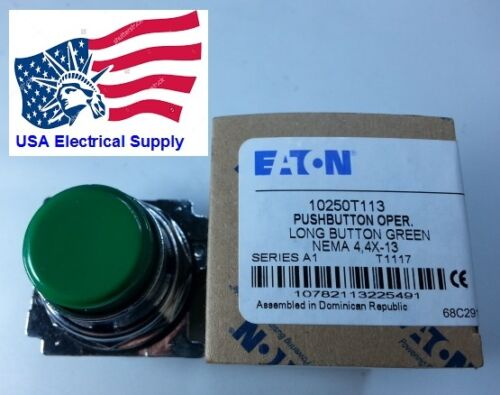 New Eaton Heavy Duty Metal Push Button Water and Oil Resistant Green  2NO