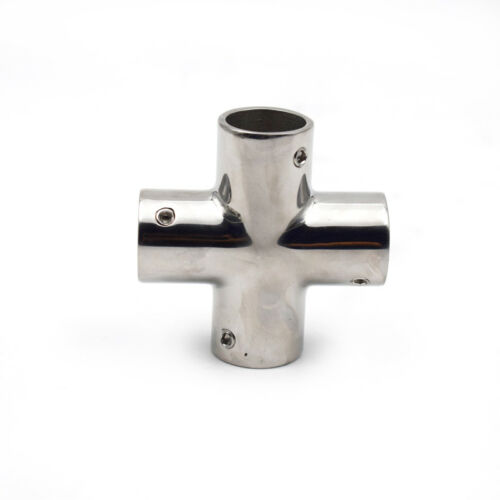 """1PC Boat Hand Rail Fittings 4 Way 7//8/"""" Tube 90° 316 Stainless Steel Polishing US"""