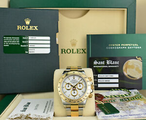 ROLEX-18kt-Gold-Stainless-DAYTONA-White-Index-Fat-Buckle-CARD-116523-SANT-BLANC