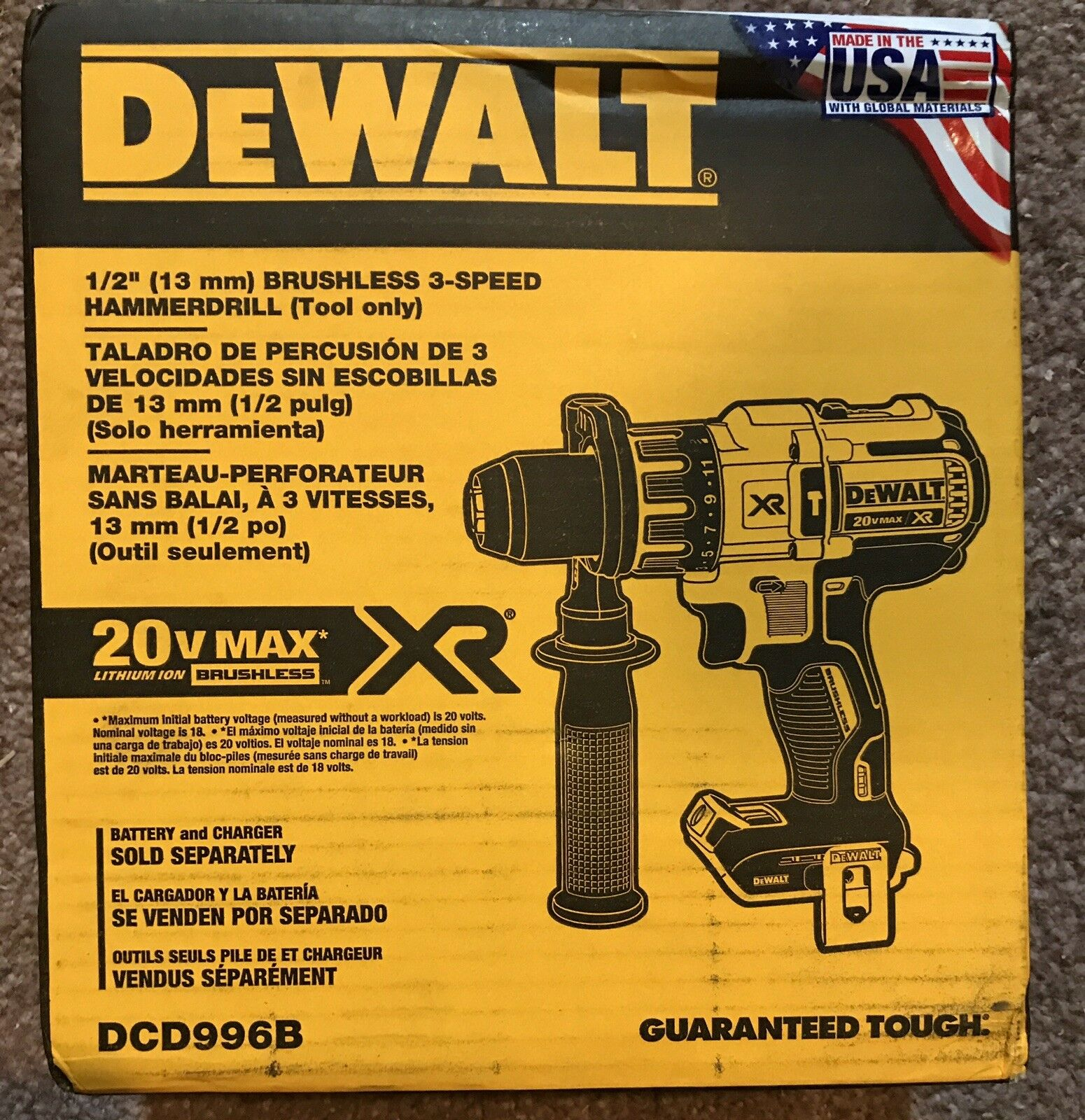 DEWALT DCD996B 20V 20 Volt Lithium Ion  Brushless 1/2