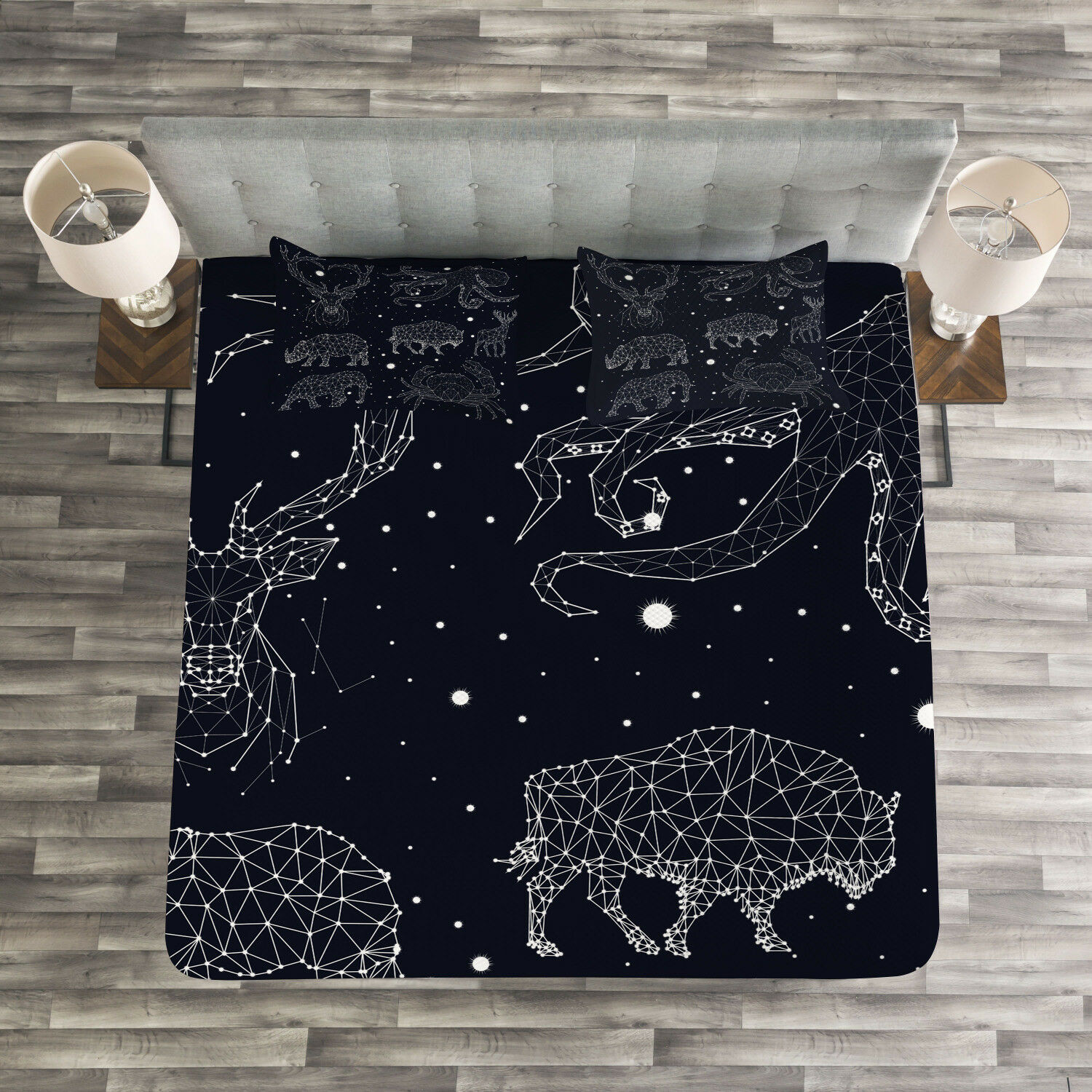 Octopus Quilted Bedspread & Pillow Shams Set, Constellation Signs Print