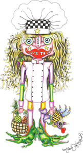 """ALLIGATOR FISH CHEF NEW ORLEANS /""""I LOVE TO COOK/"""" Jamie Hayes GICLEE SIGNED"""