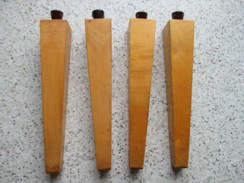 4 Schrankbeine Möbelbeine Tischfuß Tisch Nähkasten Hocker Holz braun schraubbar