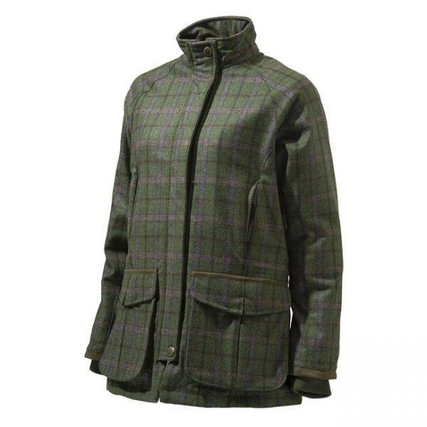 Beretta St James Tweed Chaqueta de abrigo de las Señoras verde Cuadros Púrpura Cheque Impermeable
