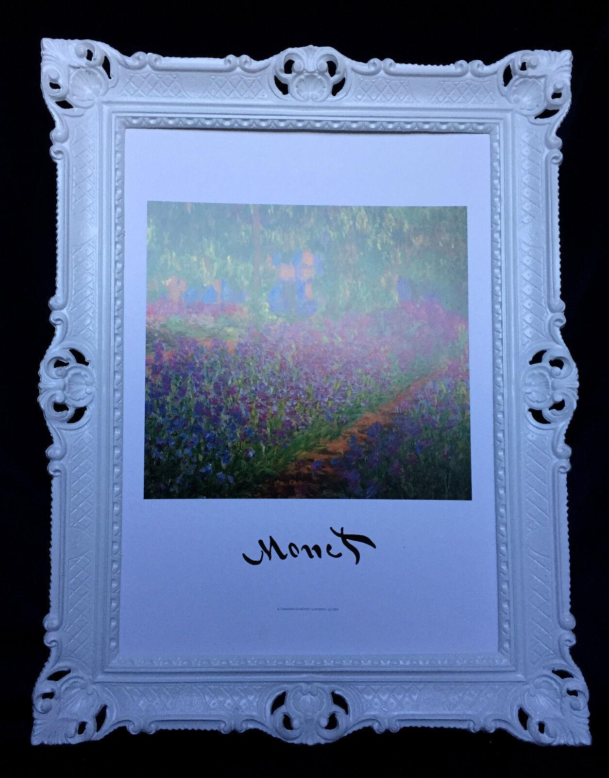 Image Claude Monet Jardin Paysage Fleurs Photo avec Cadres Blanc 90x70cm N403