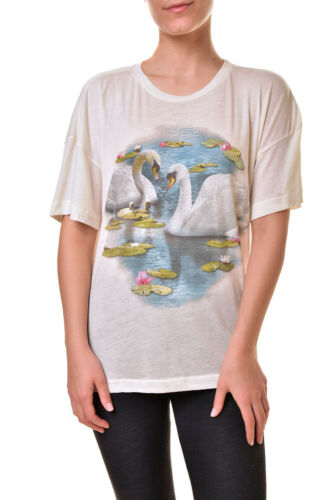 Wildfox Women/'s Swan Lake Sonic Printed WTJ00703T T-Shirt Ivory M