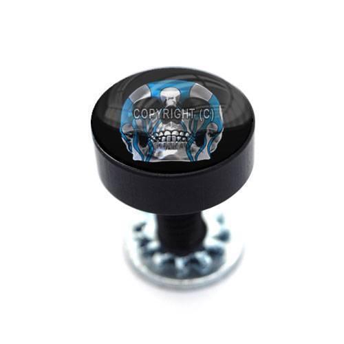 Vivid Black Billet Aluminum Smooth Thumbscrew Seat Bolt For Harley CHROME SKULL