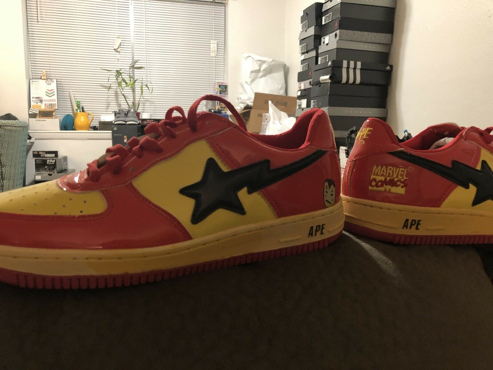 BAPE STA Marvel Iron Man / Foot Soldiers Red Yellow Black Mens Size 10.5