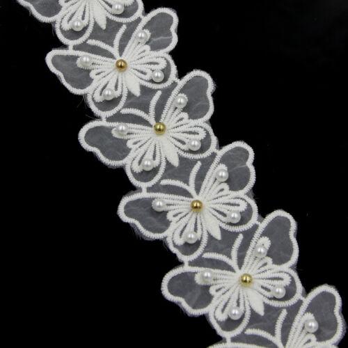 2 Yards 2 Schoß Weiß Lace Blumen Spitze künstlich Perle Borte Handwerk nähen NEU