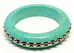Faux-Turquoise-Vintage-Bangle-Bracelet-Silver-Tone-Ball-and-Chain-Insert