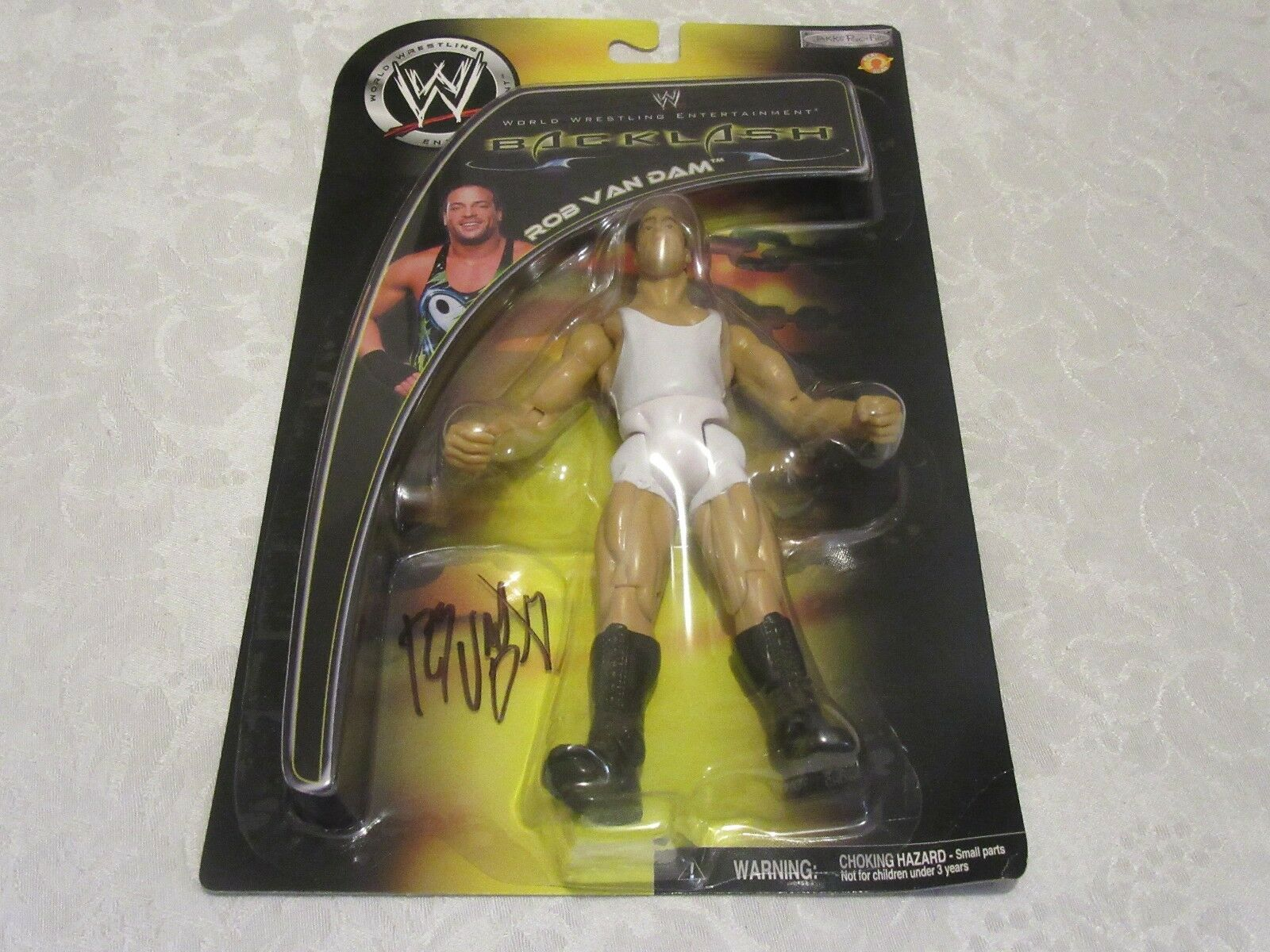 WWE WWF ECW Backlash Signed Autographed Rob Van Dam Weiß Uniform Action Figure