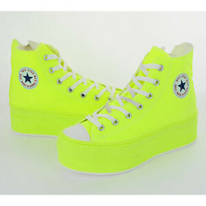 e5667f8fa902c Details about New Maxstar Womens C50 7Holes Zipper Platform High Top Cotton  Sneakers All Neon