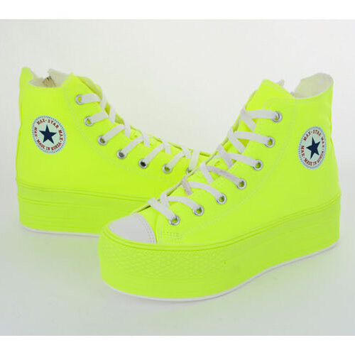 C50 cotone New Maxstar Zipper All Platform Top in Womens High Neon Sneakers 7holes pEvfwxqnv