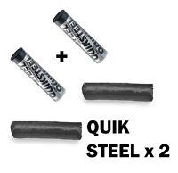 2 x Quiksteel Quick Steel Reinforced Epoxy Putty Repair Metal Weld (Exhaust etc)