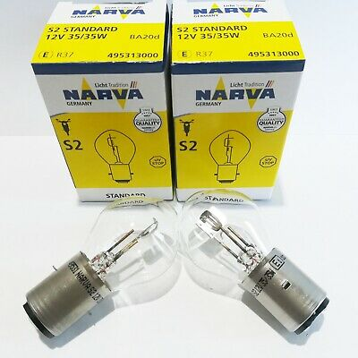 2 Stück 12V 35//35W BA20d S2 Narva Birne Lampe Glühlampe Moped Motorrad B2175a