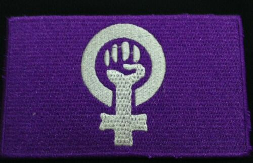 """Feminist Logo 3/""""x5/"""" Iron-On Embroidered Patch Gender Equality Flag Adornment"""