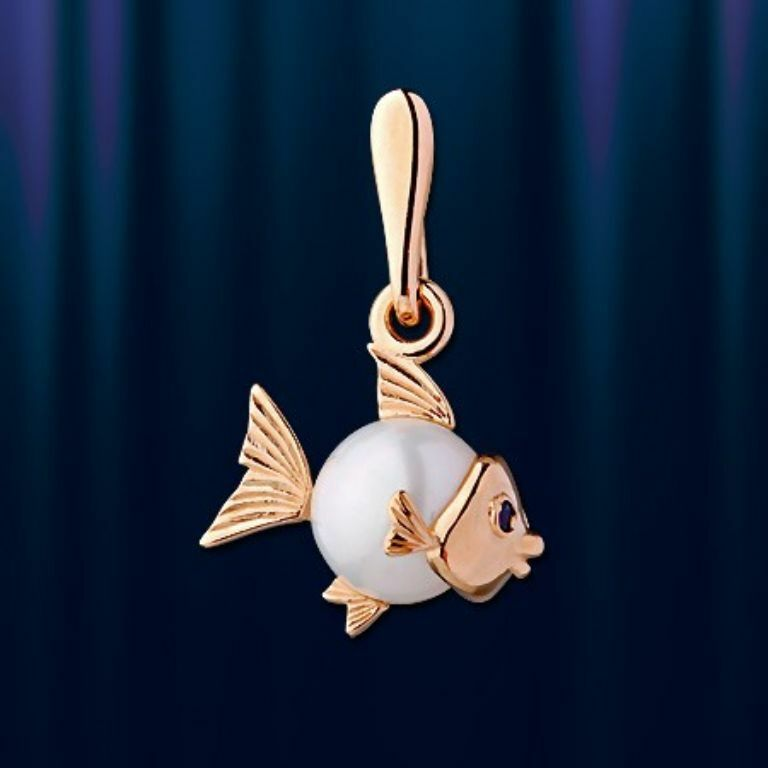 Fish pearl pendant russian pink gold 14k  585 little  NWT stunning 1.2g