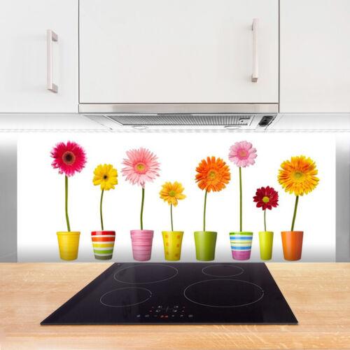 Fond de panier de cuisine en verre ESG anti-projections 125x50cm Fleurs Plantes