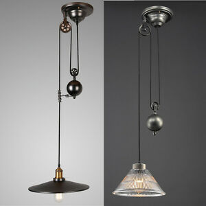 Image Is Loading Industry Vintage Pulley Pendant Light Ceiling Lamp Retractable