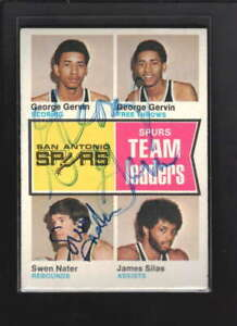 1974-75 TOPPS #227 GEORGE GERVIN/ SWEN NATER SIGNED AUTHENTIC AUTOGRAP ID: 45376