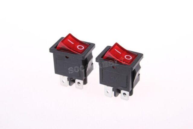 2pcs Red Light 4 Pin DPST ON-OFF Snap in Boat Rocker Switch 6A/250V 10A/125V AC