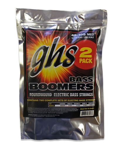 045-105 Long Scale 2 Pack 4 String Bass Boomers Medium GHS Strings M3045-2