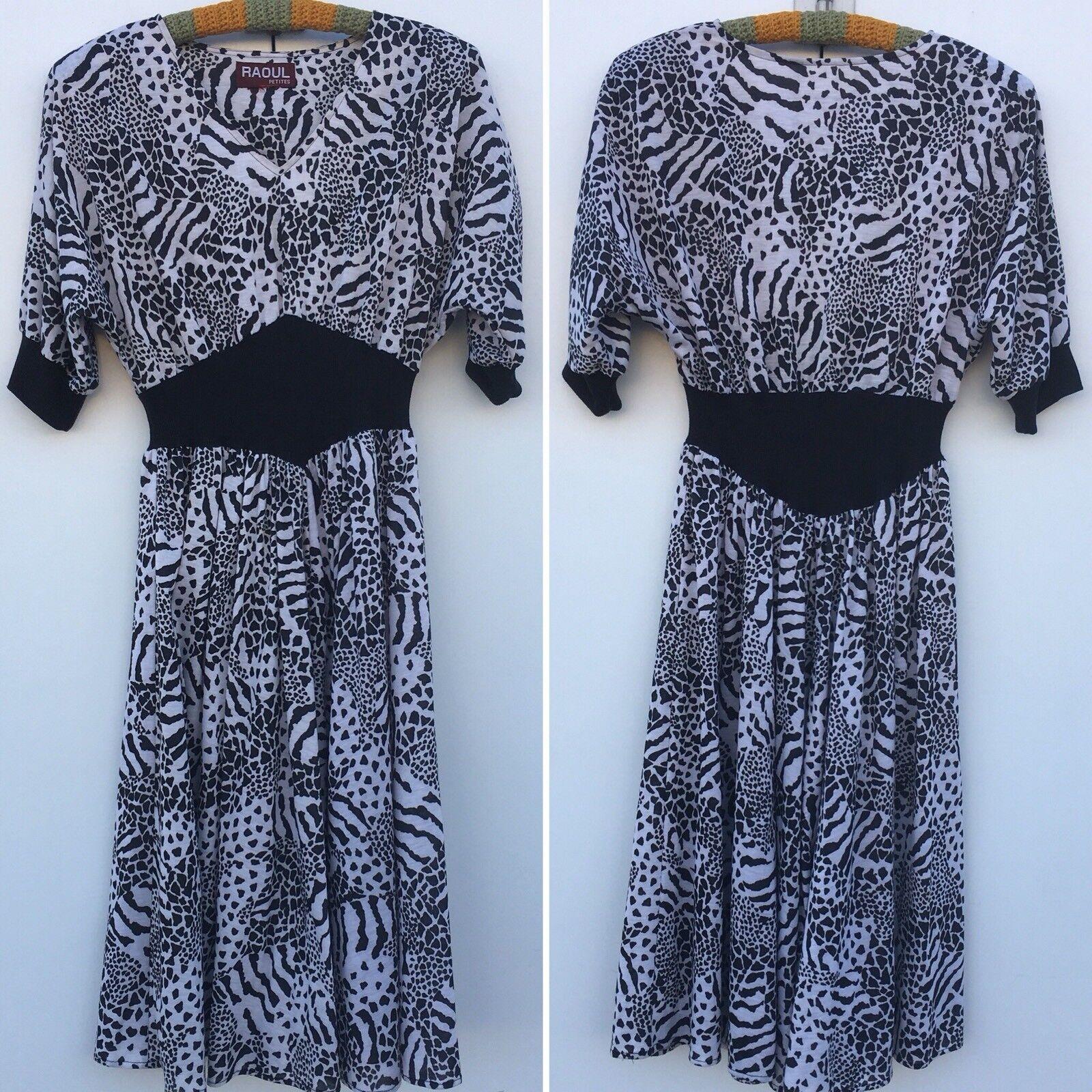 Vintage Liz Petites Inc Leopard Print Midi Dress