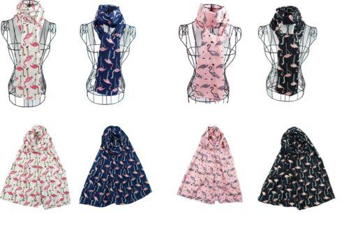 Women Ladies Long Cute Chiffon Flamingo Pattern Print Shawl Scarf  Warp Stole