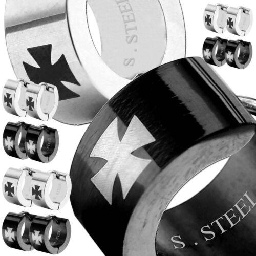 1 Paar Edelstahl Creolen Eisernes Kreuz Ohrringe Biker Schwarz Silbern Creole