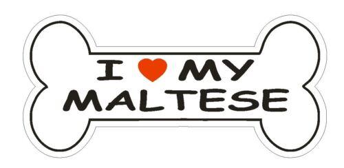 Love My Bichon maltais Autocollant ou Casque Autocollant D1097 Dog Bone Pet Lover