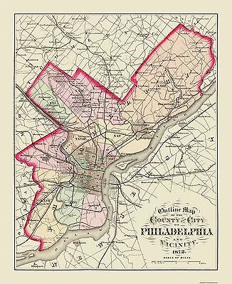 Old County Map - Philadelphia Pennsylvania - 1872 - 23 x 28.19