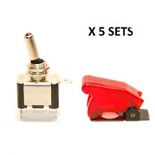X5 Pactrade Marine Red Led Dot Toggle Switch Red Safety Switch Flip Cap Cover