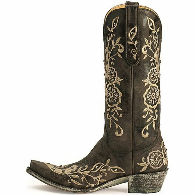 c7992e4b2af Old Gringo Women's Lucky Western Boot Swarovski Crystals Chocolate Size 10