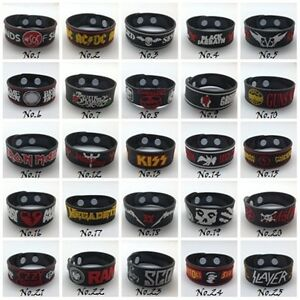 Wristband Rubber Silicon Bracelet Rock Band Music Heavy Metal Punk