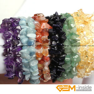 Natural-Freeform-Nugget-Chips-Beads-Handmade-Beaded-Gemstone-Bracelet-7-034-Yao-Bye