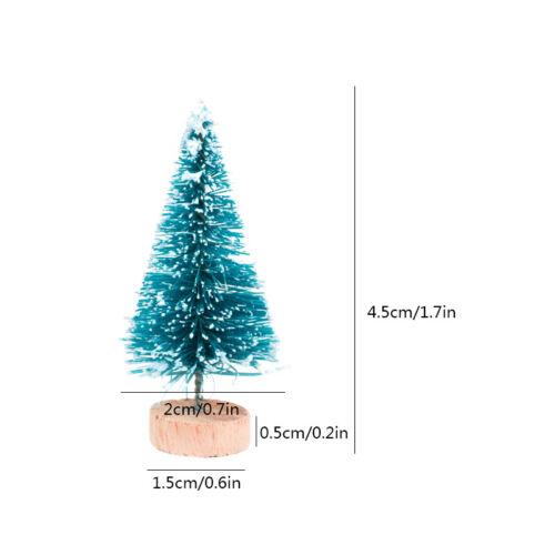 15Pcs Mini Sisal Christmas Trees Ornament Miniature Snow Frost Xmas Tree Decor