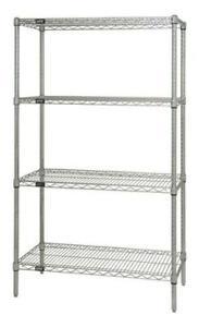 Chrome Quantum H//D 74H 4-Shelf Wire Shelving Kit 800lb WR74 NSF
