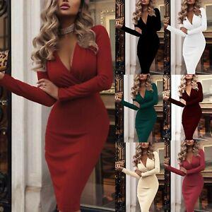 UK-Women-Deep-V-Neck-Bodycon-Dress-Dresses-Sundress-Long-Sleeve-Evening-Party