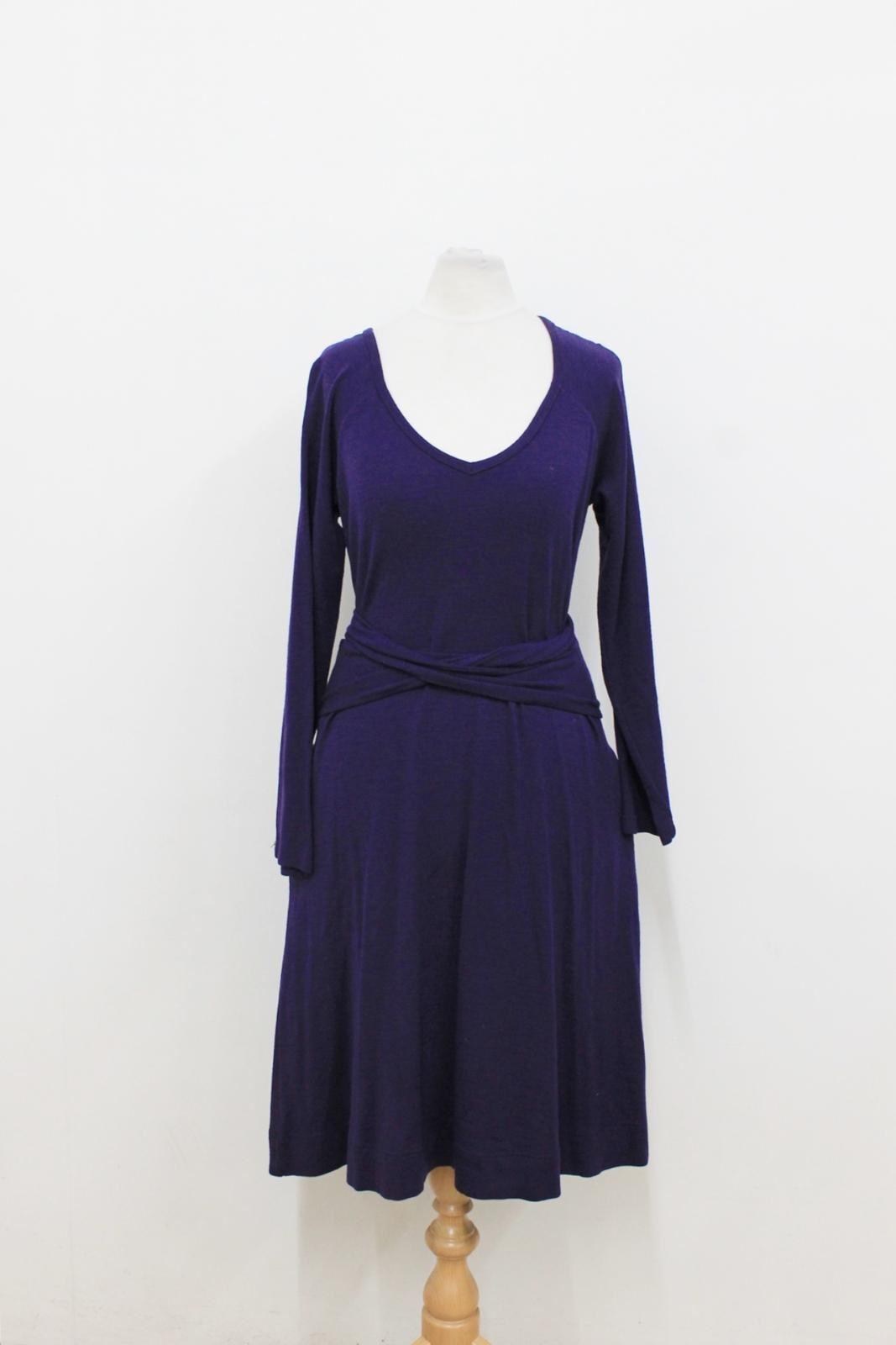 DKNY Ladies Dark lila Wool Blended V-Neck Belted Shift Dress Größe P UK6