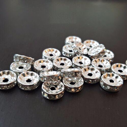 plata claro 10mm perlas Charms Nellys a-Grade strassrondelle 100 unid