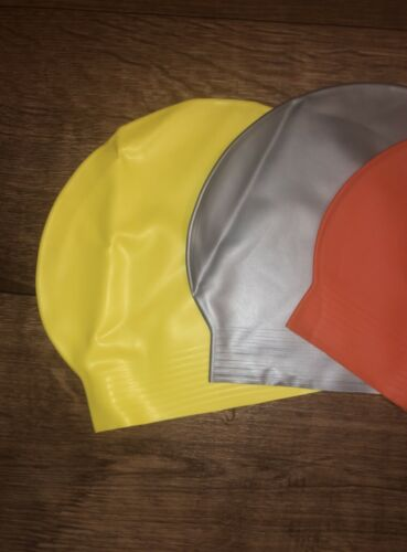 Unbranded  Unisex Long Hair Swim Cap Silver//Yellows