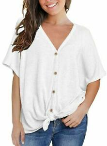 Miholl-Womens-Loose-Blouse-Short-Sleeve-V-Neck-Button-Down-T-Shirts-Tie-Front-Kn
