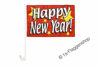 Happy New Year Autofahne Autoflagge Fahnen Auto Flaggen 30x40cm