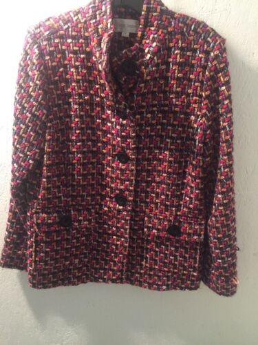 Erin London Multi Color Woven Womens Pea Coat Siz… - image 1