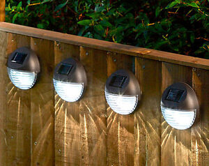 4 Solar Powered Led Fence Lights Patio Wall Driveway
