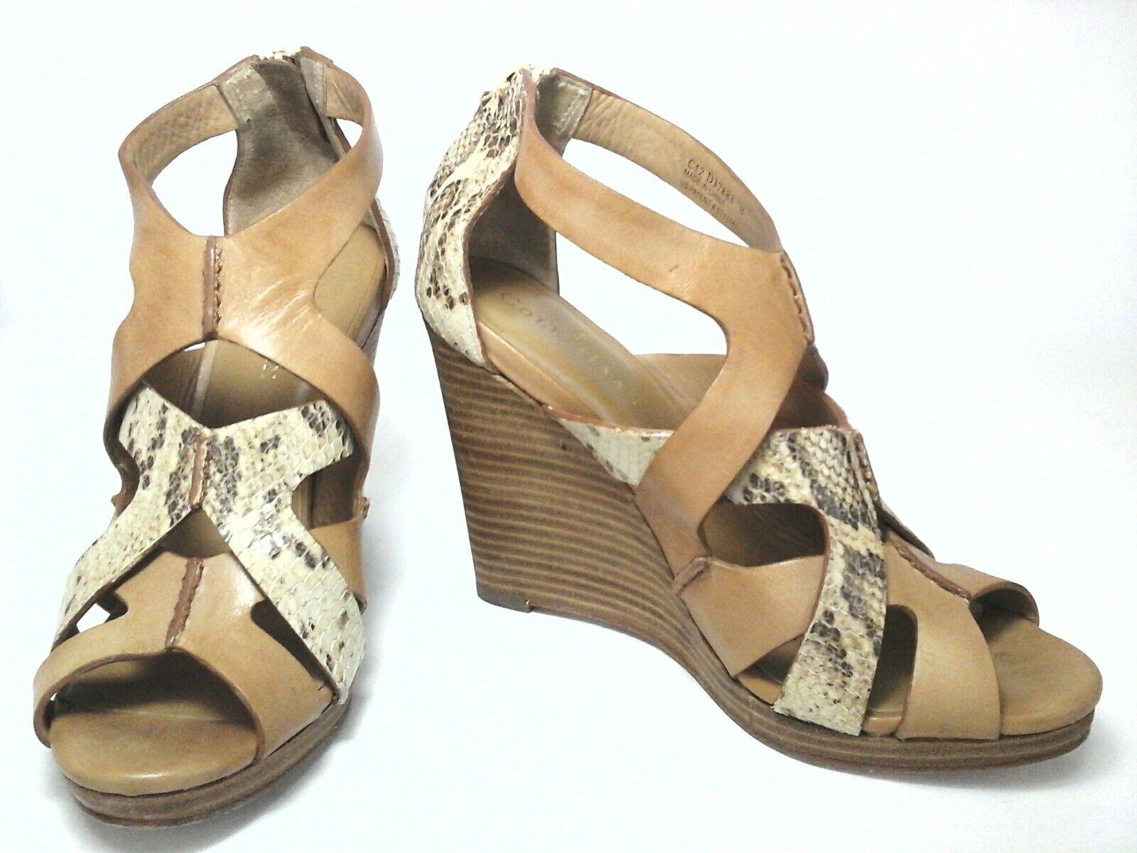 Cole Haan Mujeres Tacones Cuña Sandalias Serpiente Con Tiras Bronceado US 7