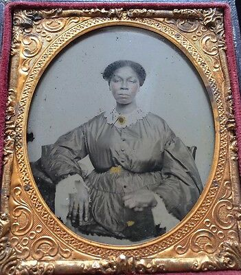 AFRICAN AMERICAN BLACK SLAVE SERVANT GIRL WOMAN 1/6 CASE AMBROTYPE PHOTO #A65